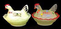 Boyd Art Glass HP Vaseline Satin And Lemon Splash Carnival Chick Salts