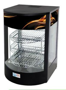 New Curved Glass Commercial Hot Food Pie Pizza Warmer Display Cabinet
