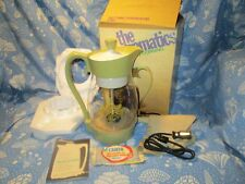 New 1970's Vintage Corning Electromatics Clear Glass Avacado Coffee Percolator