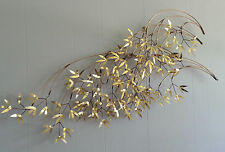 """Mid Century Modern Signed Curtis Jere 1982 Bamboo Leaves Wall Art Sculpture 47"""""""