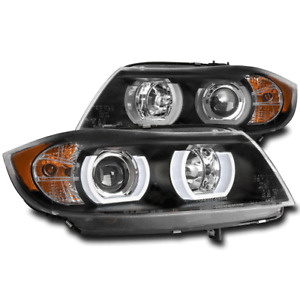 FOR 06-08 BMW E90 3-SERIES (HID XENON) 4DR HALO PROJECTOR HEADLIGHTS LAMPS BLACK