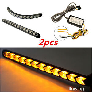 2PCS Flexible Car DRL White/Amber LED Rider Arrow Flasher Light Strip Headlight