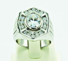 MEN RING 925 STERLING SILVER WHITE SAPPHIRE SYN CZ PRESIDENT HIPHOP EP SIZE 8