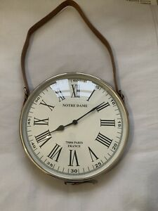 ROUND LEATHER STRAP VINTAGE STYLE WALL CLOCK-PERFECT WORKING ORDER!!!