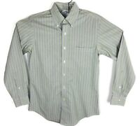 Brooks Brothers 1818 Slim Fit Non Iron Stretch Mens Shirt Green Striped Small