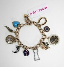 Betsey Johnson Lucky Charms Bauble Bracelet Crystals Gold Tone Metal MSRP $55