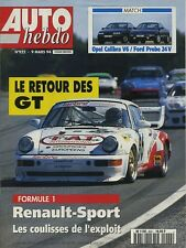AUTO HEBDO n°922 du 9 Mars 1994 OPEL CALIBRA V6 FORD PROBE 24V RALLYE PORTUGAL