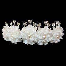 Diadème Couronne Mariage Mariée Satin Perle Papillons Cristal Blanc cassé Ivoire