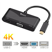 USB 3.1 Type C to HDMI 4Kx2K VGA + Audio Adapter HDMI 4K HDTV Converter Cable