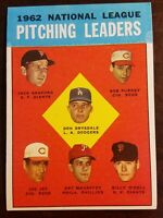 1963 Topps #7 NL Pitching Leaders  Drysdale VG-EX