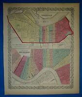 Antique 1860 Colton's Atlas Map ~ LOUISVILLE, KY - NEW ORLEANS, LA ~ Authentic