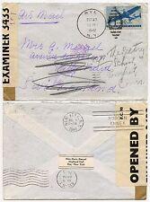BERMUDA CENSOR INTERCEPTED 1942 RETURNED USA NO SERVICE WW2 RYE NY + IC 3433