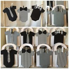Black White Grey Houndstooth Baby Shower Thank You favor boxes &Free Cake Topper