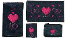 Porte Chequier Porte carte grise porte monnaie Coeur rose Saint Valentin + nom