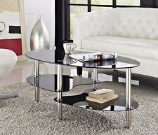 Neotechs Modern Black Glass & Chrome Oval Living Room Coffee Table With 2 Shelves