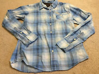 Tommy Hilfiger Denim Long Sleeve Button Shirt Size Large Blue Checked