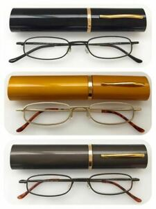 Metal Frame Slim Reading Glasses/Spring Hinges+Aluminum Pen Tube Case UK