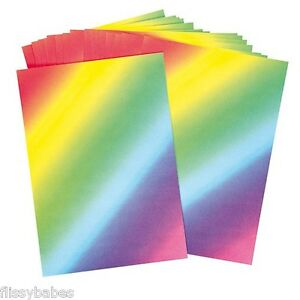 20 x A4 Sheets of Rainbow Paper 80gsm for cards / scrapbooking etc NEW