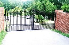 Wrought Iron Style Driveway Entry Gate 16ft Wide Dual Swing. Handrails, Fence