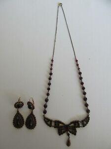 Antique Czechoslovakia Garnet Bow Dangle Necklace & Earring Set (*BEAUTIFUL*)