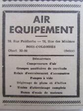 1938-39 PUB AIR EQUIPEMENT BOIS-COLOMBES DEMARREUR COMPRESSEUR TRAIN AVION AD