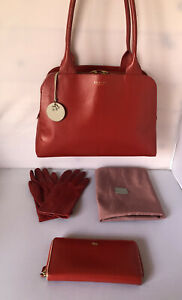 Radley Millbank shoulder Red leather Zipped bag With Matching Purse And Gloves