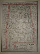 VINTAGE 1888 ALABAMA  MAP OLD ANTIQUE ORIGINAL ATLAS MAP ***FREE S&H 88/041517