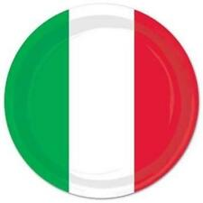 Red White & Green 9 Inch Plates 8 Pack Italian Mexican Fiesta Party Decoration