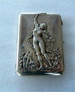 Russian Silver Art Nouveau Cigar Cigarette Case Nude Dancer , Moscow