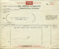 Dr. Pepper 1940 Birmingham Alabama Invoice for Signs Rockford Illinois Bottling