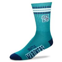 Seattle Mariners For Bare Feet MLB 4 Stripe Deuce Crew Socks SZ Large