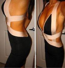 bebe black ivory side cutout open back deep v bodycon bandage top dress XS 0 2
