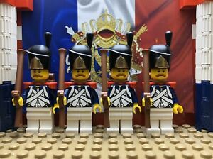 4x French Imperial Grenadiers with Bearskin, Muskets, Epaulettes & Backpacks