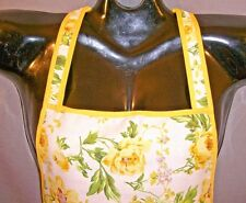 OS~Woman~Yellow Floral Print Full Bib Kitchen APRON~Halter~Rockabilly~Retro~Cook