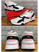 PUMA LADIES UK 7.5 EU 41 NOVA 90'S BLOC WHITE PINK BLACK TRAINERS RRP £70 CS