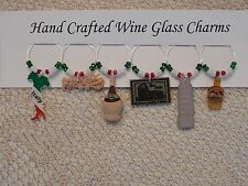 """ ITALY /ITALIAN"" SET OF 6  HAND CRAFTED Wine Glass Charm drink markers"