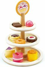 Childs Wooden DESSERT TOWER CAKE STAND NEW HAPE 3 Yrs+ Wood Role Play Toy 10pc