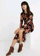 NWT Madewell Shirred Midi Dress in French Rose Floral Black Red Sz S J9272