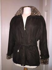 Women's Medium•ANDREW MARC•Leopard Trimmed>Thermal Insulated Brown Coat~Jacket