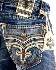 """$220 Mens Rock Revival Jeans """"Walker"""" Volcano Stitch Leather Insert Boot 28 X 30"""