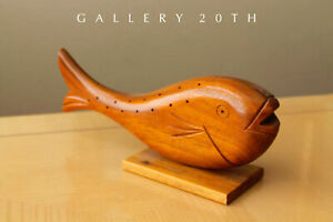 Selten Mittel Jahrhundert Modern Japan Koi Fisch Skulptur! Vtg Teak Holz Kunst