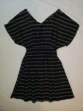 Womens Forever 21 black/white striped above knee babydoll  dress sz M