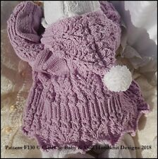 "BABYDOLL HANDKNIT DESIGNS KNITTING PATTERN F130 SUIT 16-22"" DOLL / 0-3M BABY"