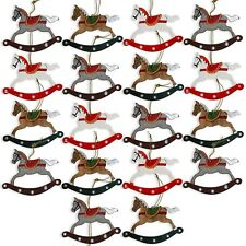 Shabby Chic Wooden Christmas Hanging Bauble Decorations - Rocking Horses x18