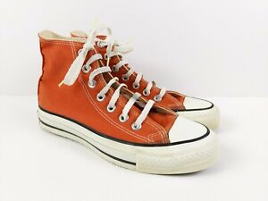 VTG Converse Chuck Taylor High Made In USA Size 4.5 Orange Distressed Worn