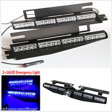 Blue 32led Car SUV SunVisor Emergency Warning Strobe Light Lamp Bar With Bracket