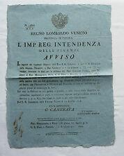 AVVISO REGNO LOMBARDO VENETO ESTE MONTAGNANA PIAZZOLA PIOVE PADOVA 1828 VENETO