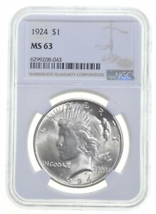 1924 MS63 Peace US Silver Dollar NGC Graded - Brown Label *0858