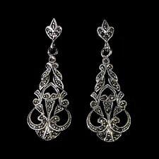 ANGUS & COOTE Vintage 925 Sterling Silver Marcasite Ornate Drop Dangle Earrings