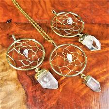 Dream Catcher Necklace - Clear Quartz Crystal Point Pendant - Gold Wire (W1)